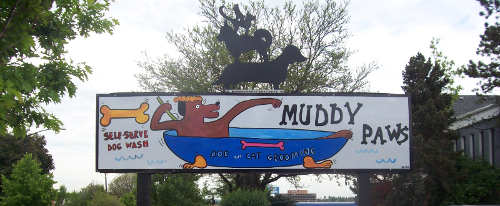 Muddy Paws dog in a tub sign